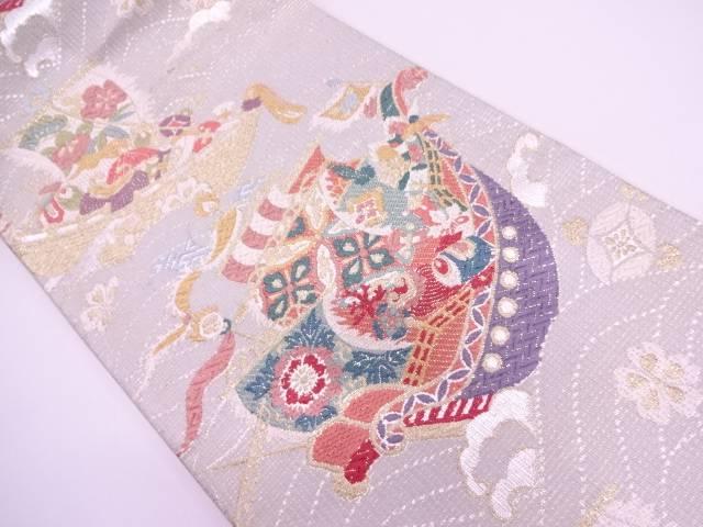 唐織宝船模様織出し袋帯【リサイクル】【中古】
