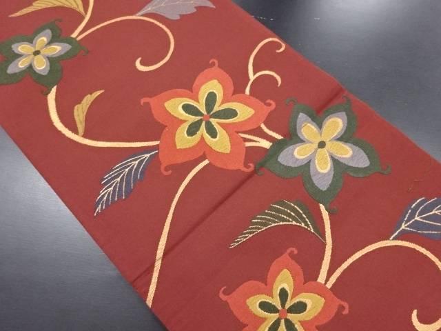 金糸モダン花模様織り出し袋帯【リサイクル】【中古】