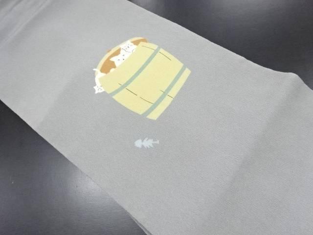縮緬地樽に白猫模様名古屋帯【リサイクル】【中古】