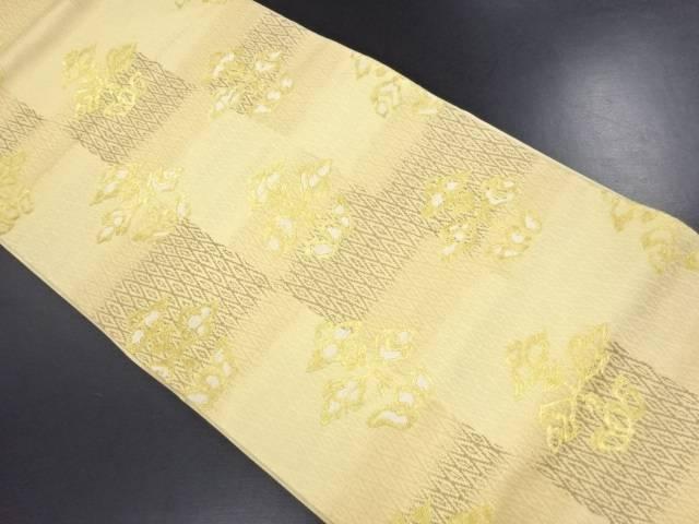 未使用品 金糸市松に抽象花模様織り出し袋帯【リサイクル】【中古】