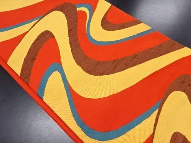 流水模様織り出し洒落袋帯【リサイクル】【中古】