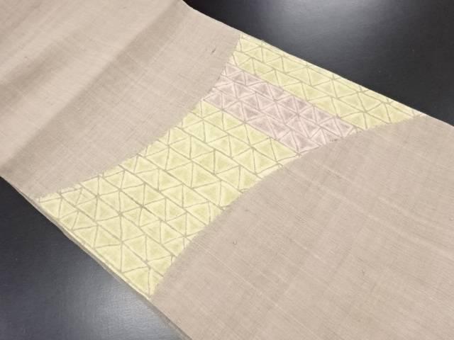 生紬絞り幾何学模様開き名古屋帯(額縁仕立て)【リサイクル】【中古】