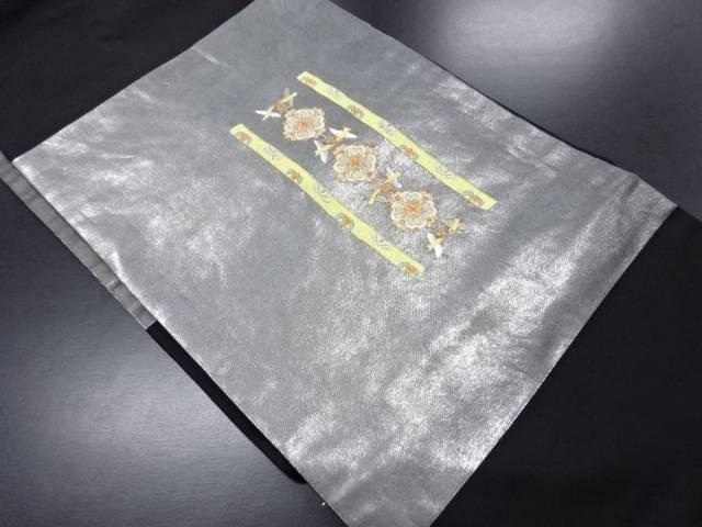 縞に華紋・鳥模様刺繍名古屋帯【リサイクル】【中古】