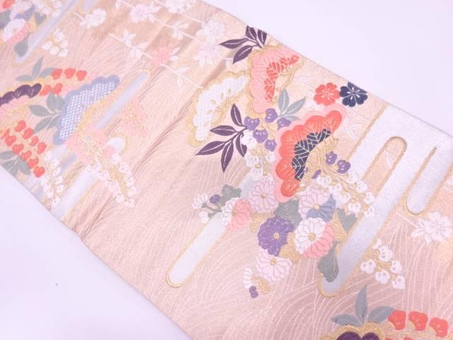 ヱ霞に松・草花模様織出し袋帯【リサイクル】【中古】