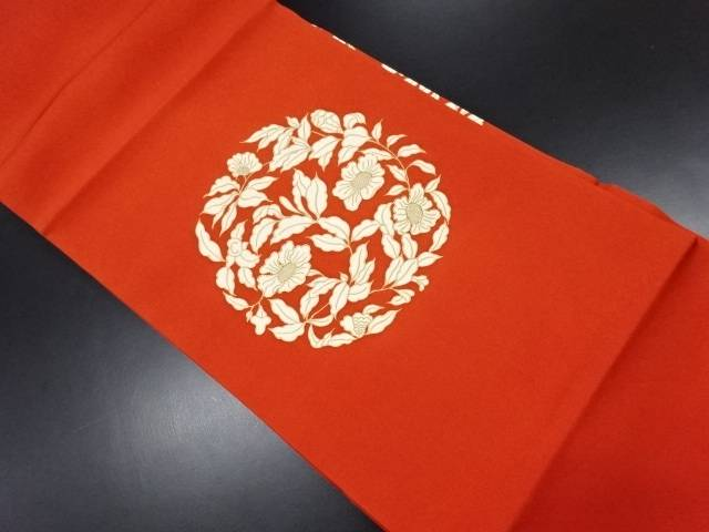 塩瀬 花模様刺繍名古屋帯【リサイクル】【中古】