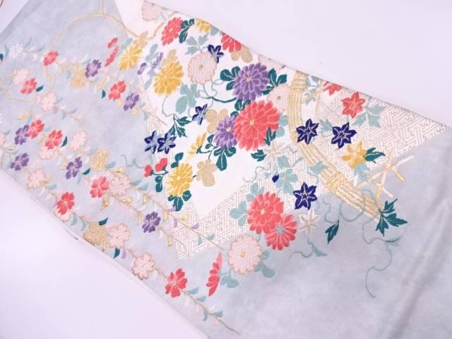 枝垂れ桜に光悦垣・草花模様織出し袋帯【リサイクル】【中古】