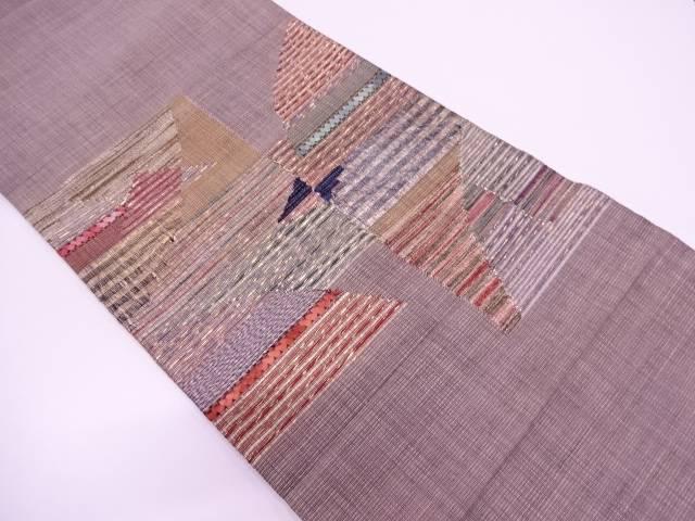 リボン織抽象模様袋帯【リサイクル】【中古】