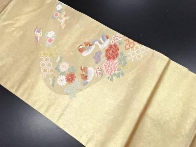 青銅箔花鳥模様織り出し名古屋帯【リサイクル】【中古】