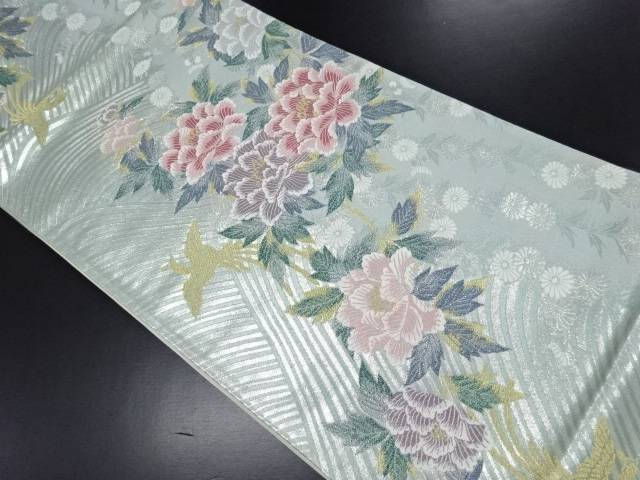 銀糸牡丹に菊鳳凰模様織り出し袋帯【リサイクル】【中古】