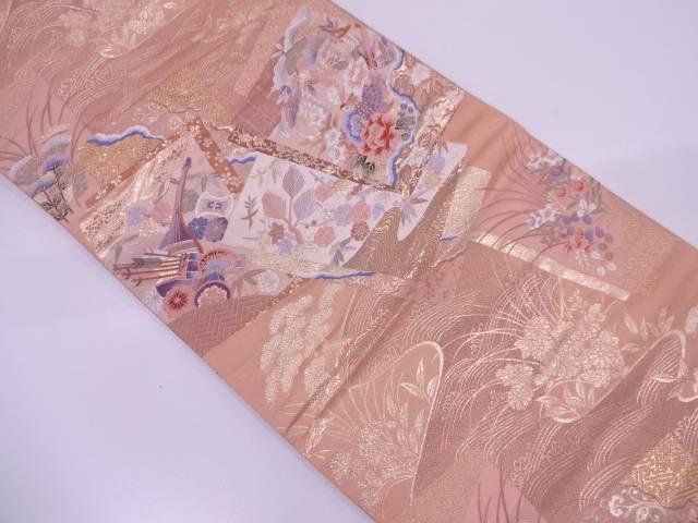 純金箔二重織九百錦重ね色紙に古楽器・花鳥模様織出し袋帯【リサイクル】【中古】