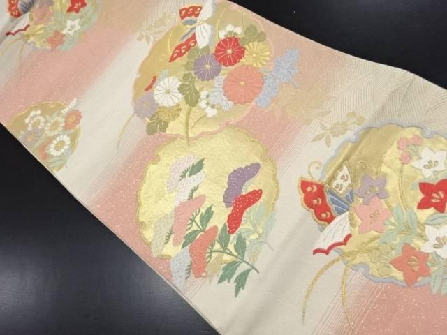 金糸雪輪に蝶秋草模様織り出し袋帯【リサイクル】【中古】