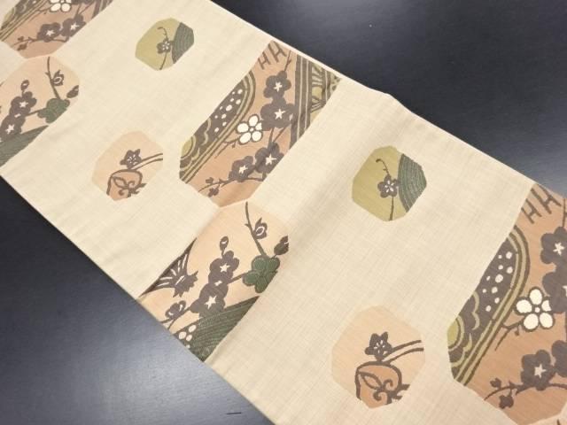 楽山 枝梅模様織り出し洒落袋帯【リサイクル】【中古】