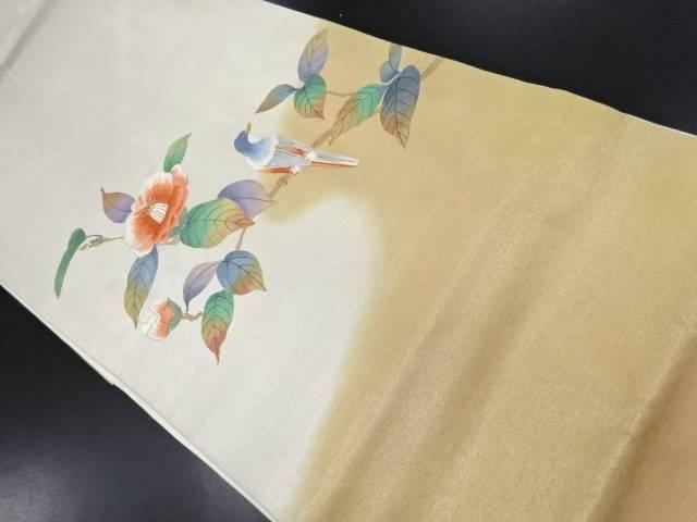 枝椿に鳥模様刺繍名古屋帯【リサイクル】【中古】