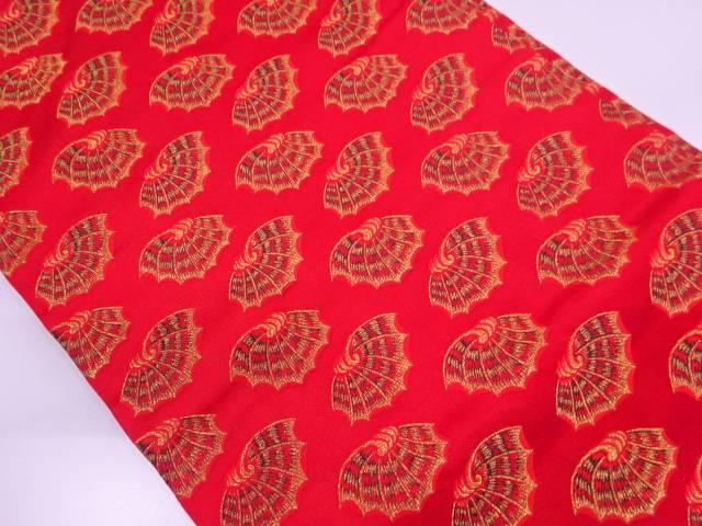 龍村美術織物製 彩貝文錦開き名古屋帯(額縁仕立て)【リサイクル】【中古】