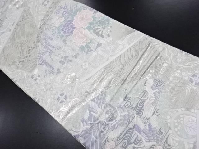 地紙に鶴・花・古典柄模様織り出し袋帯【リサイクル】【中古】