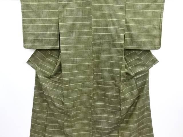 未使用品 格子織り出し暈し手織り真綿紬着物【リサイクル】【中古】【09OFF】