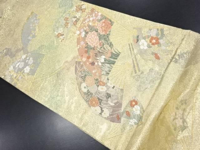 本金扇絵四季草花文織り出し袋帯【リサイクル】【中古】