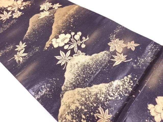 漆引箔山並みに桜・紅葉模様織出し袋帯【リサイクル】【中古】