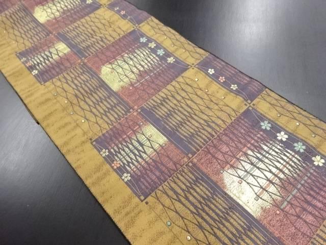 市松に網目・花模様織り出し名古屋帯【リサイクル】【中古】
