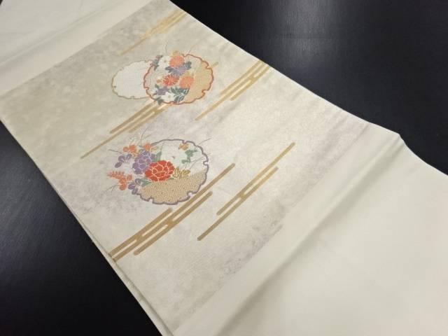 引箔雪輪に牡丹・菊模様織り出し名古屋帯【リサイクル】【中古】
