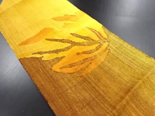 手織り真綿紬抽象樹木模様織り出し名古屋帯【リサイクル】【中古】【09OFF】