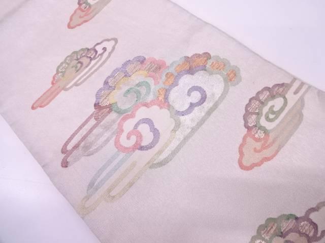 雲に花模様織出し袋帯【リサイクル】【中古】