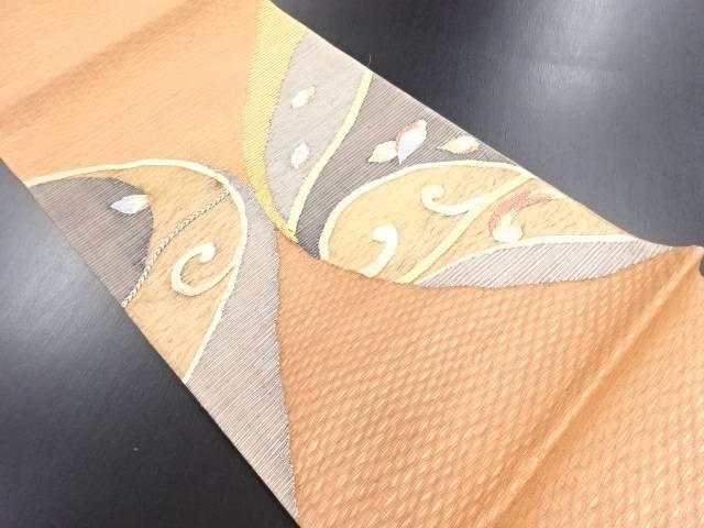 未使用品 紗すくい織抽象木の葉に草葉模様織り出し袋帯【リサイクル】【中古】