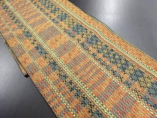 変わり織縞に市松模様織り出し名古屋帯【リサイクル】【中古】