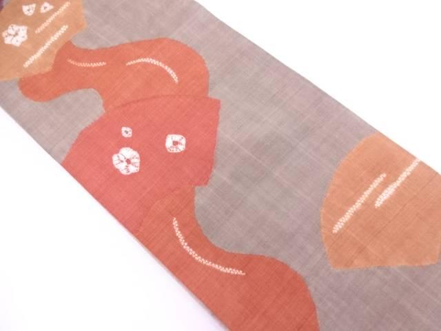 未使用品 手織り真綿紬波に地紙・花模様袋帯 【リサイクル】【中古】