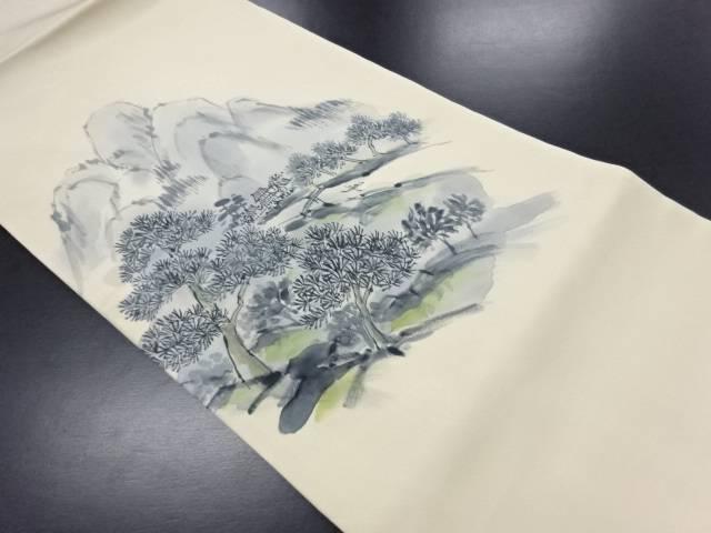 塩瀬手描き山水風景模様名古屋帯【リサイクル】【中古】