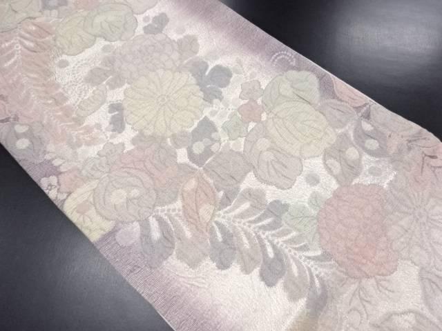 ふくれ織 銀糸 桐菊藤模様織り出し袋帯【リサイクル】【中古】