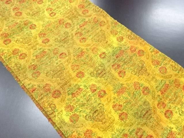 手織り真綿紬花更紗模様織り出し名古屋帯【リサイクル】【中古】