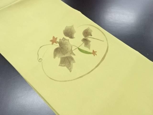 未使用品 塩瀬手描きキュウリ模様刺繍名古屋帯【リサイクル】【中古】