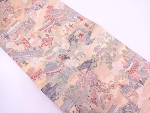 時代風景模様織出し袋帯 【リサイクル】【中古】