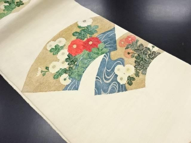 明綴れ 地紙に流水・菊模様織り出し袋帯【リサイクル】【中古】