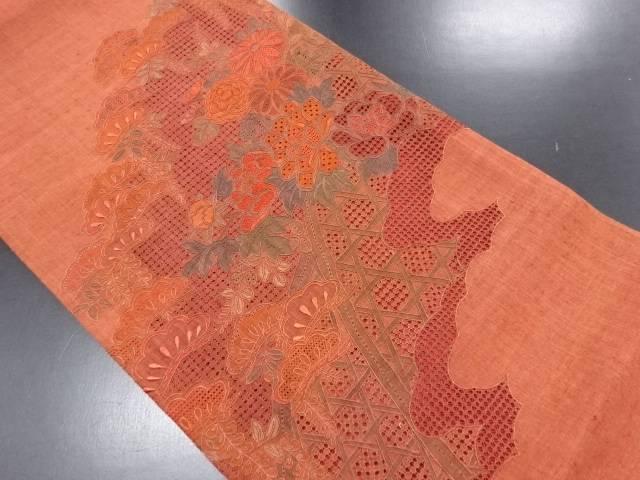 手織り真綿紬 汕頭蘇州刺繍 雲に笠松・牡丹模様袋帯【リサイクル】【中古】