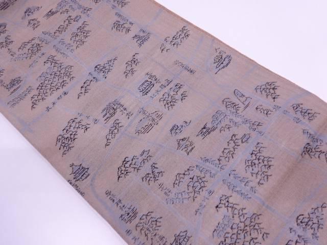 京地図模様織出し夏用袋帯 【リサイクル】【中古】