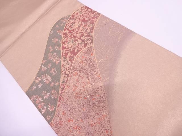 純金箔錦山並に波・花鳥模様織出し袋帯【リサイクル】【中古】