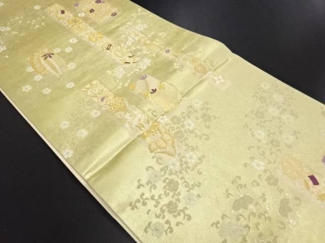 本金縞に松・藤・宝尽くし模様織り出し袋帯【リサイクル】【中古】
