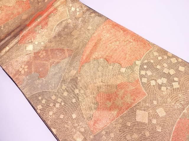 地紙に草花・箔散らし模様織出し袋帯【リサイクル】【中古】