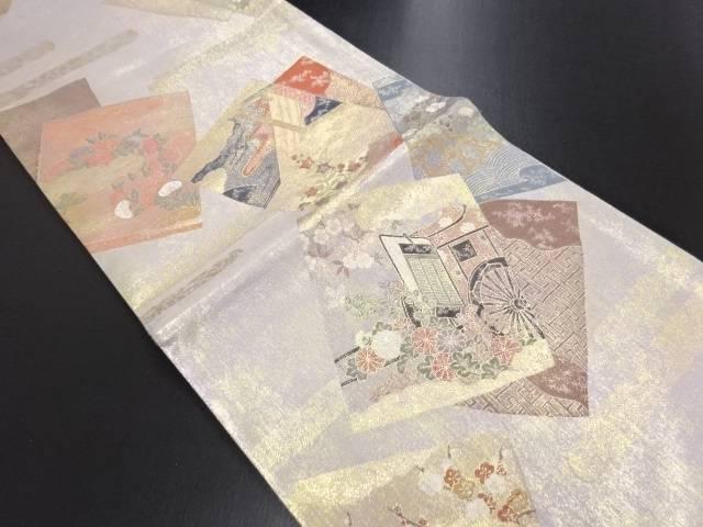 本金色紙に秋草・御所車模様織り出し袋帯【リサイクル】【中古】