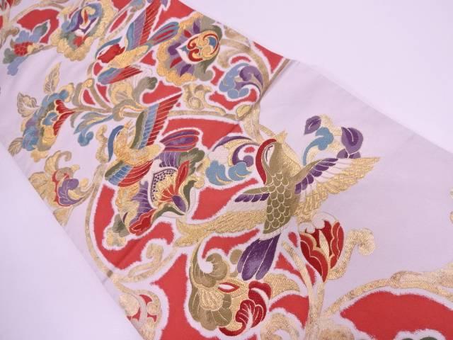 本金箔花鳥模様織出し袋帯【リサイクル】【中古】
