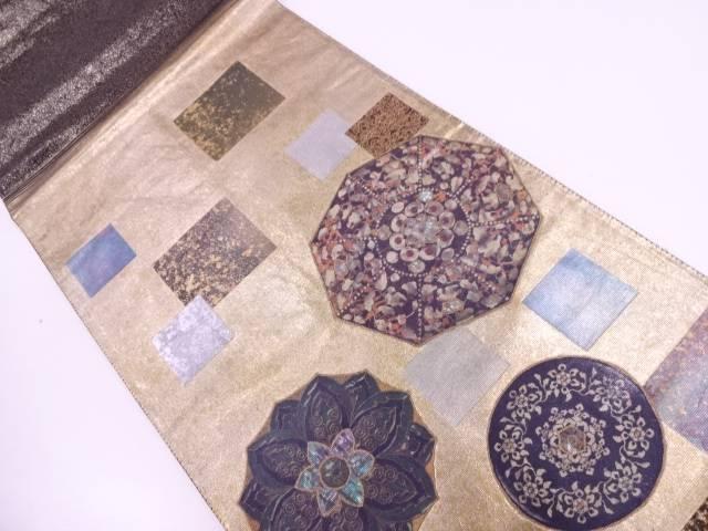 引箔螺鈿色紙に花模様織出し袋帯【リサイクル】【中古】