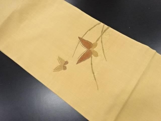 手織り紬相良刺繍流水に蝶模様名古屋帯【リサイクル】【中古】