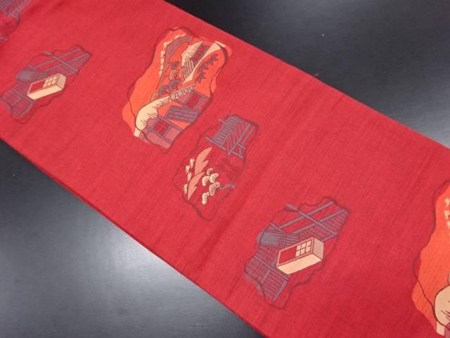 家屋風景模様織り出し袋帯【リサイクル】【中古】