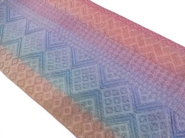 未使用品 ふくれ織縞に抽象模様織出し全通袋帯【リサイクル】【中古】