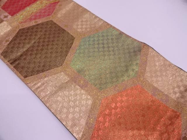 亀甲繋ぎ模様織出し袋帯【リサイクル】【中古】