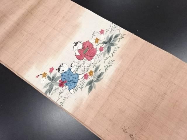 作家物 生紬手描き童子模様名古屋帯【リサイクル】【中古】