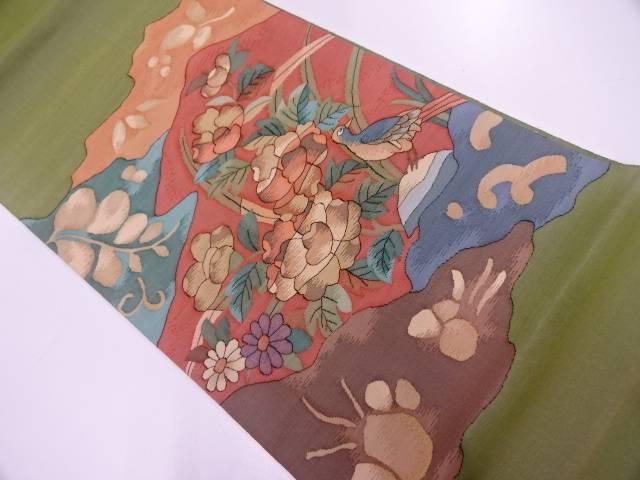 綴れ花鳥模様織出し袋帯【リサイクル】【中古】