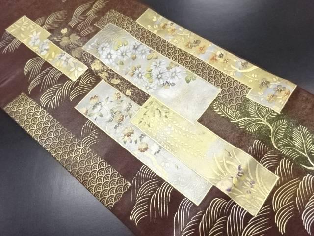 金彩短冊に花模様袋帯【リサイクル】【中古】